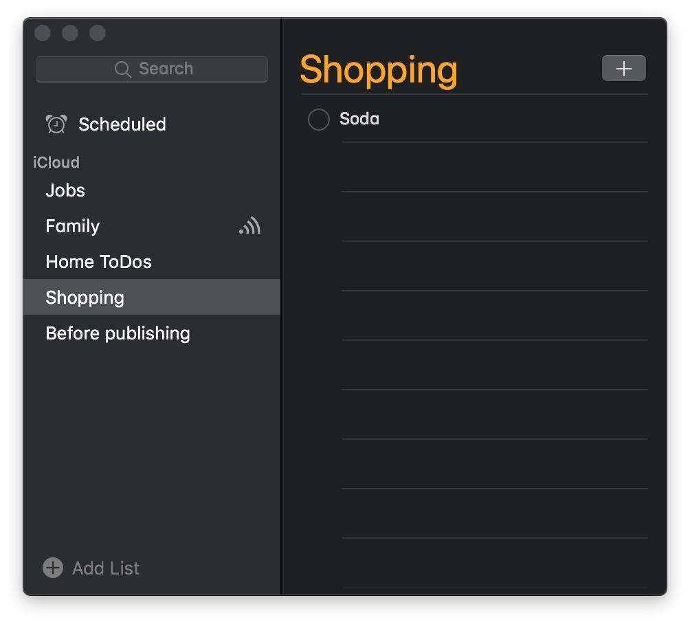 Reminders Dark Mode