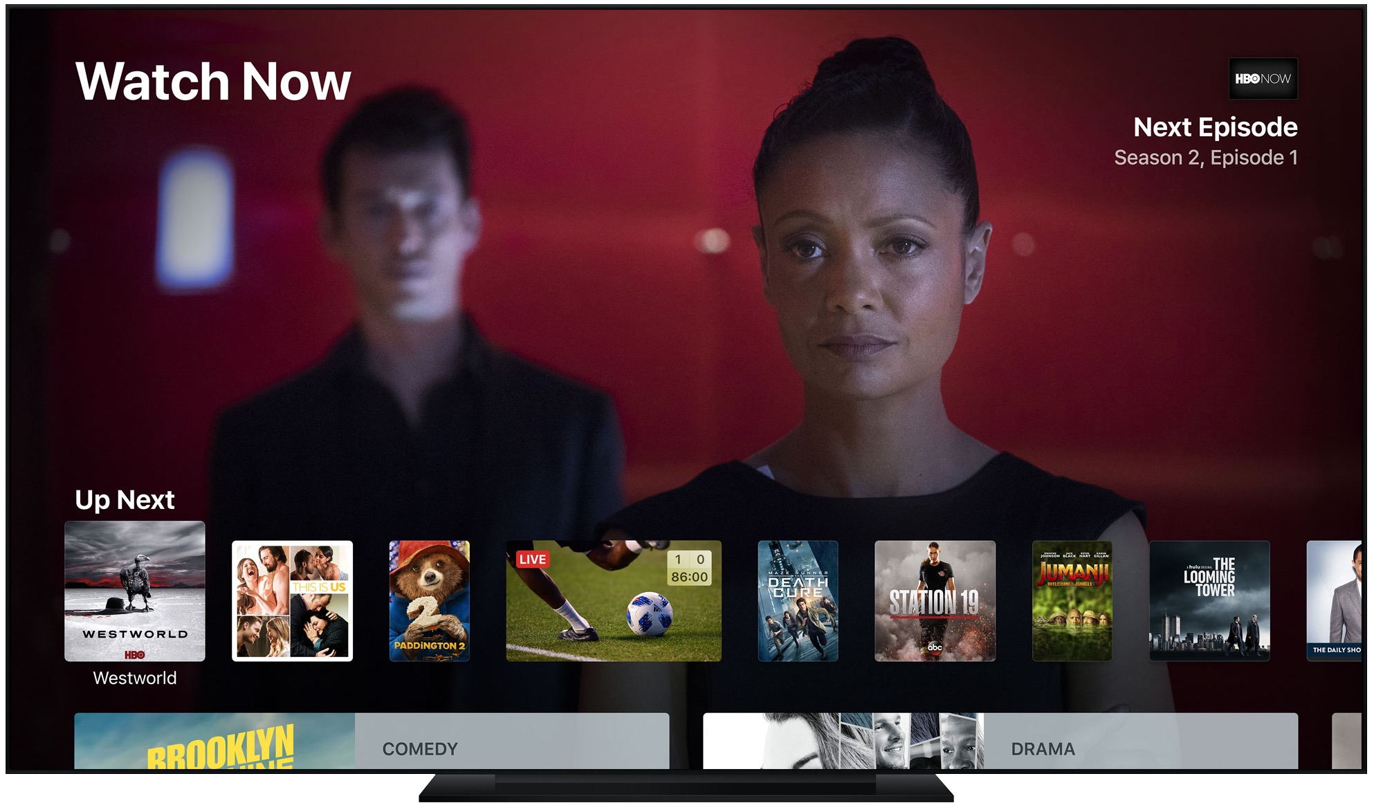 A teaser image showing the TV app on Apple TV. With iOS 11 or newer, iPhone and iPad users can control their Apple TV from iOS's Control Center interface. Read the article to learn how.