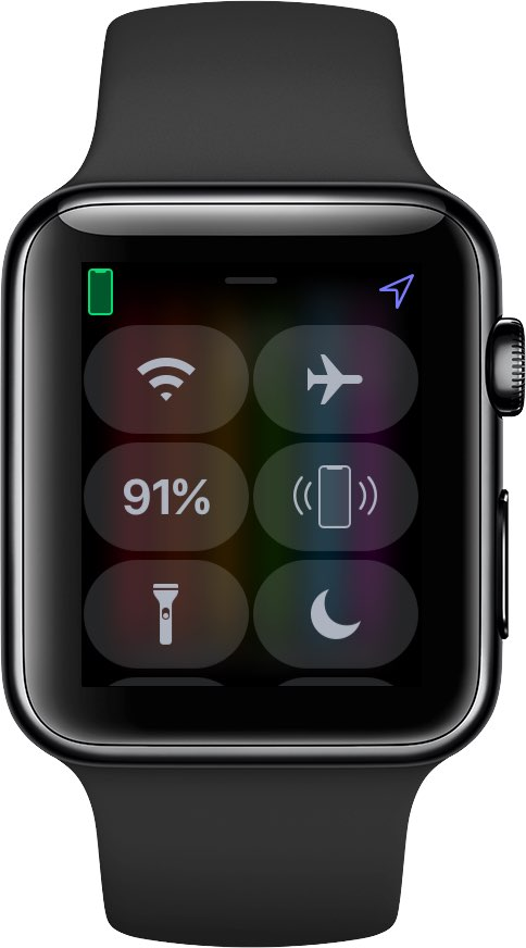Wi-Fi toggle shown turned off in the Apple Watch Control Center on watchOS 5
