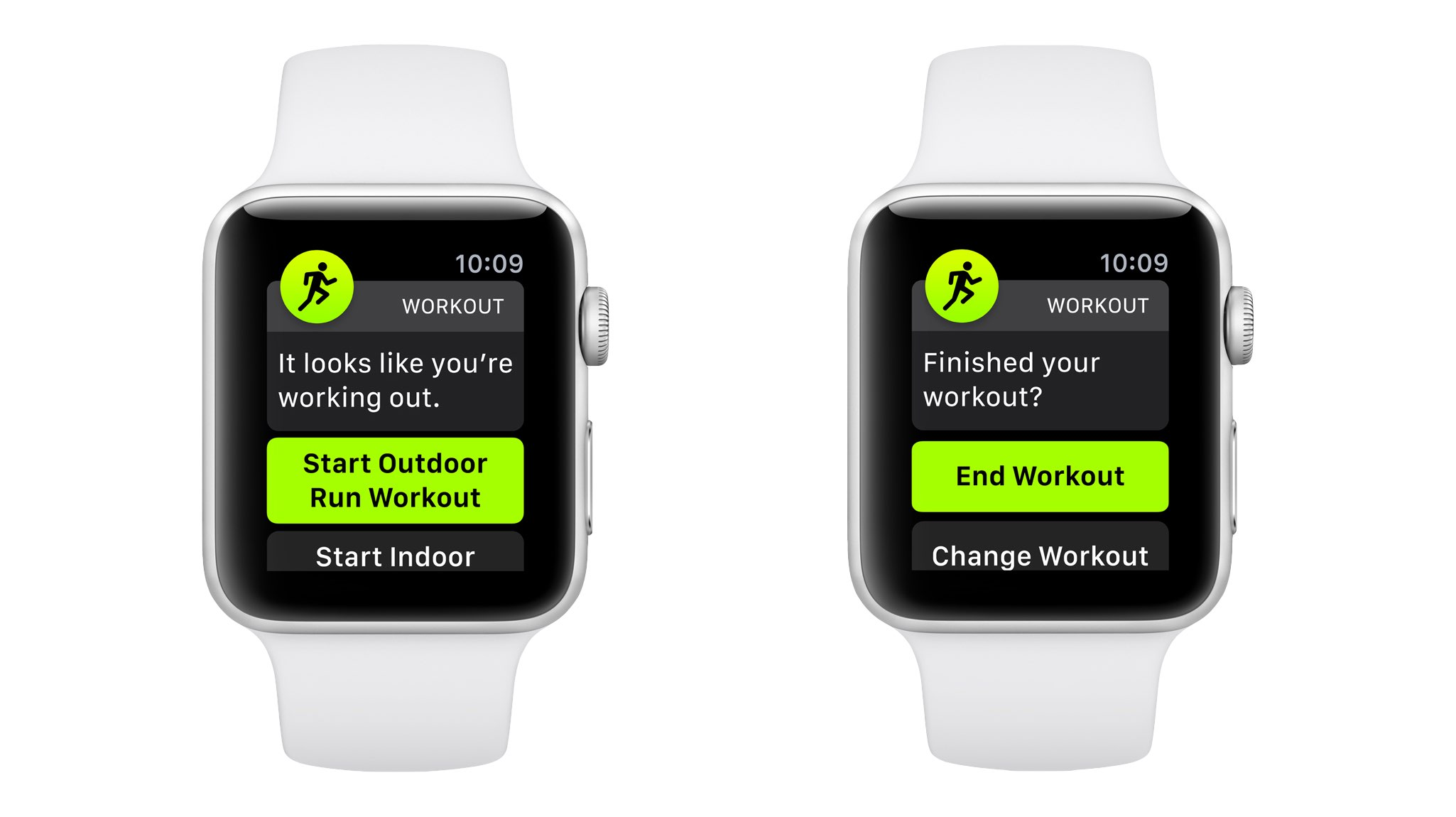 Auto-workout start and end reminders shown on Apple Watch