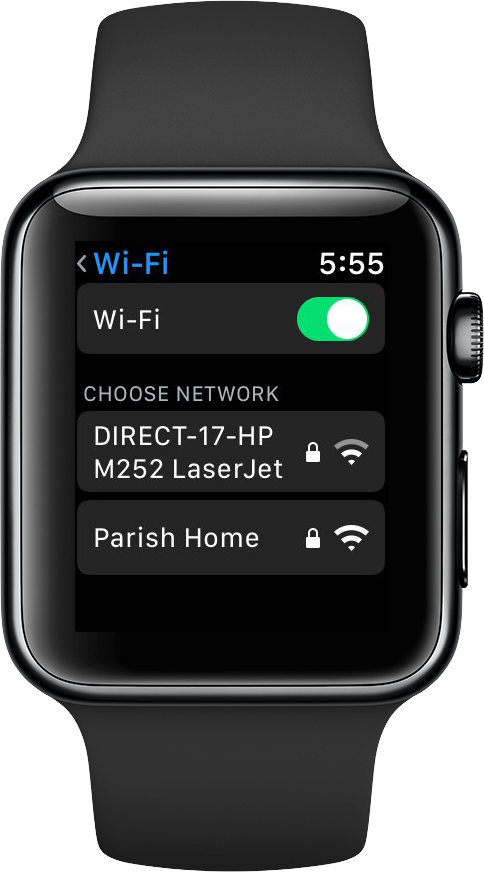 Apple Watch WiFi settings menu on watchOS 5