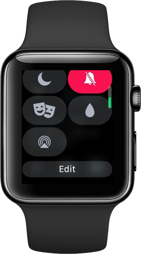The Edit button at the bottom of the Control Center overlay in watchOS 5