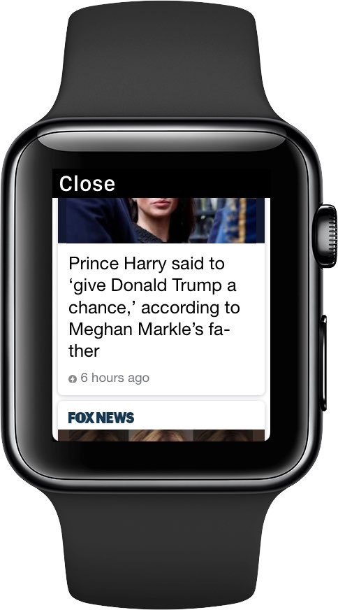 The FOX News website shown on Apple Watch