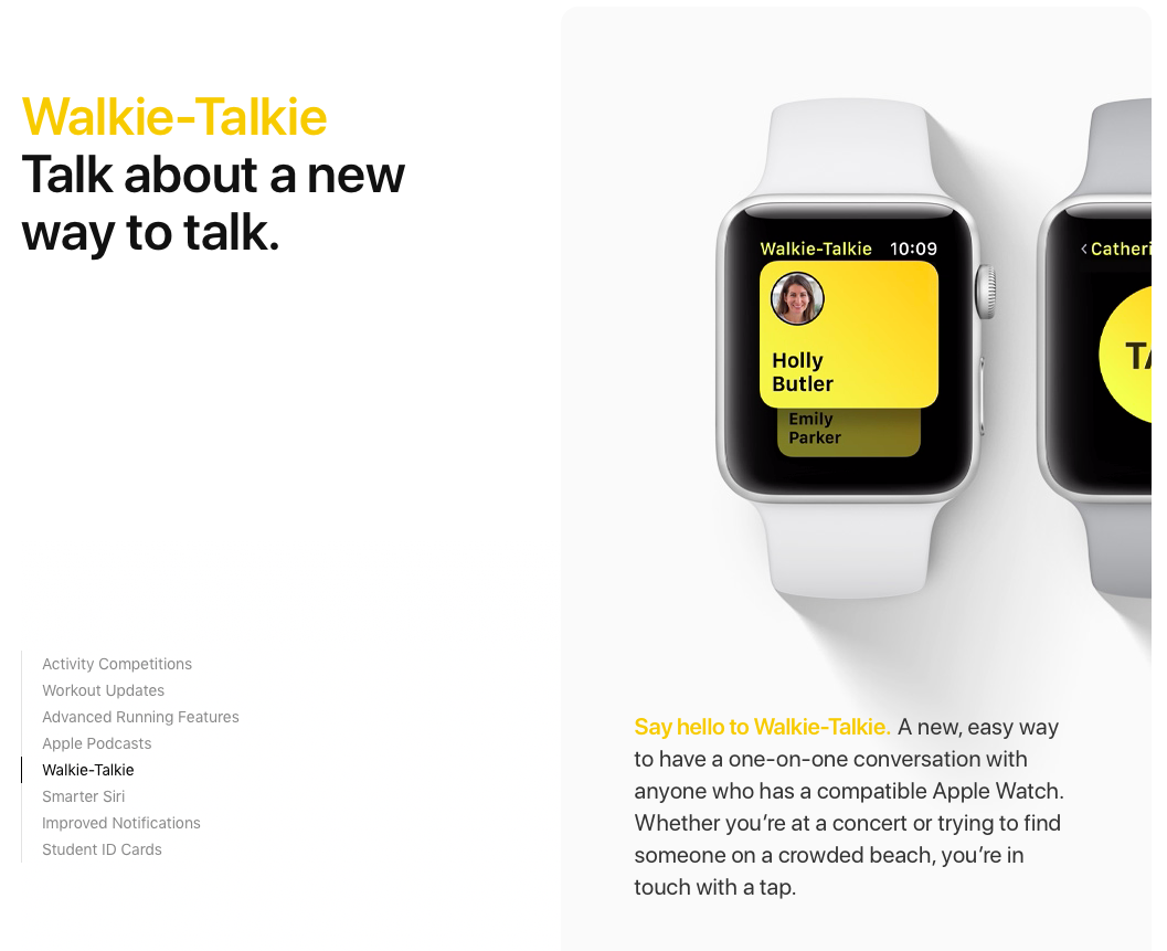 The Walkie-Talkie feature makes an appearance in beta 2 of watchOS 5