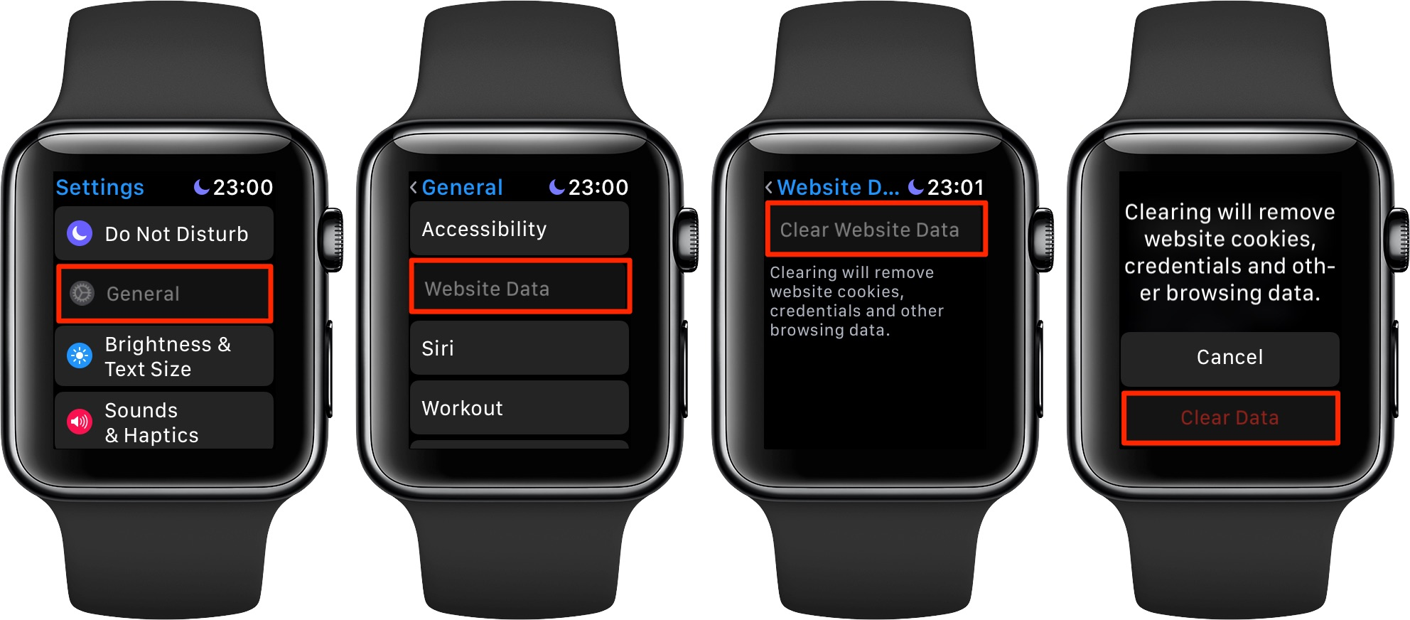As you view web content on your Apple Watch, temporary Internet files are stored but you can delete them any time you want