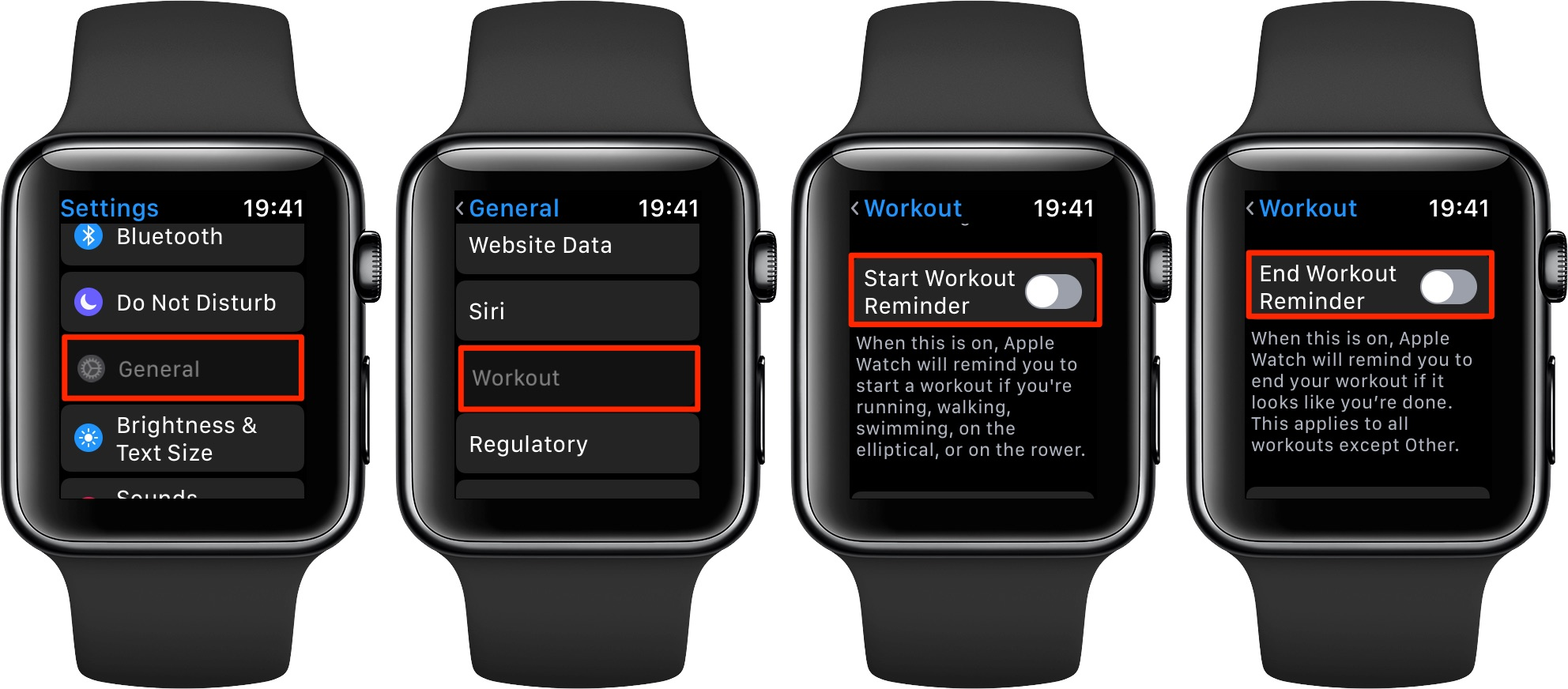 Disabling auto-workout reminders in the Settings app on Apple Watch