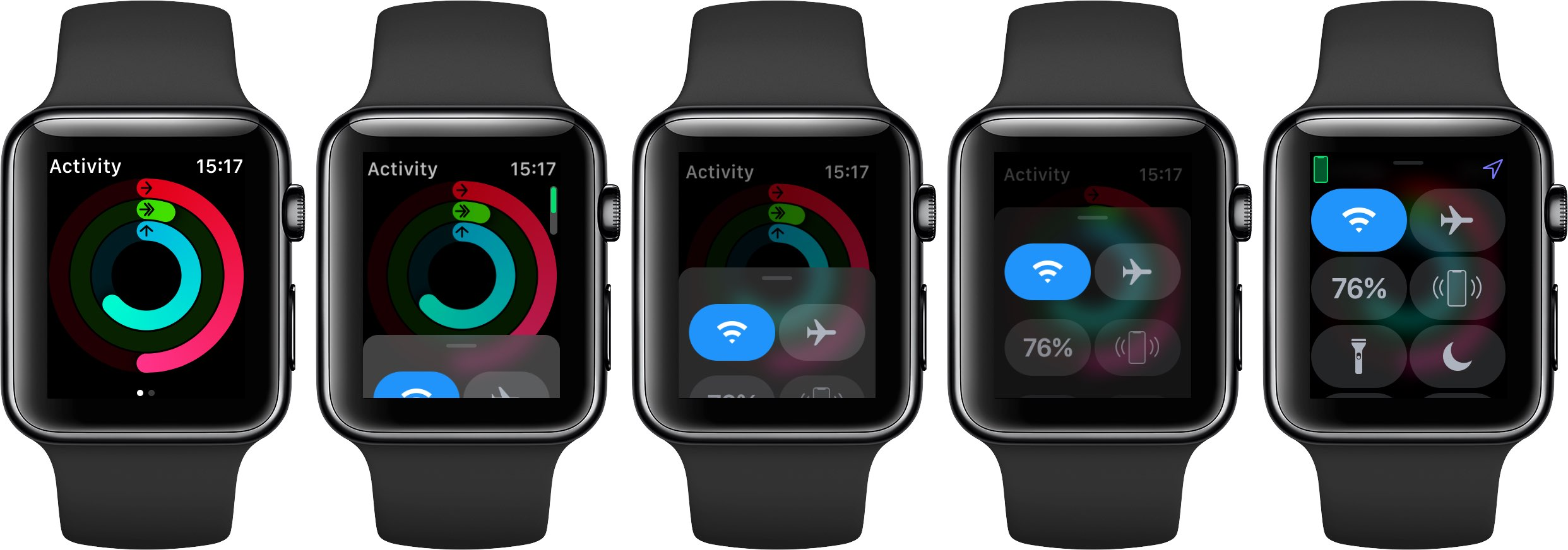 Apple Watch Control Center displayed inside the Activity app on watchOS 5