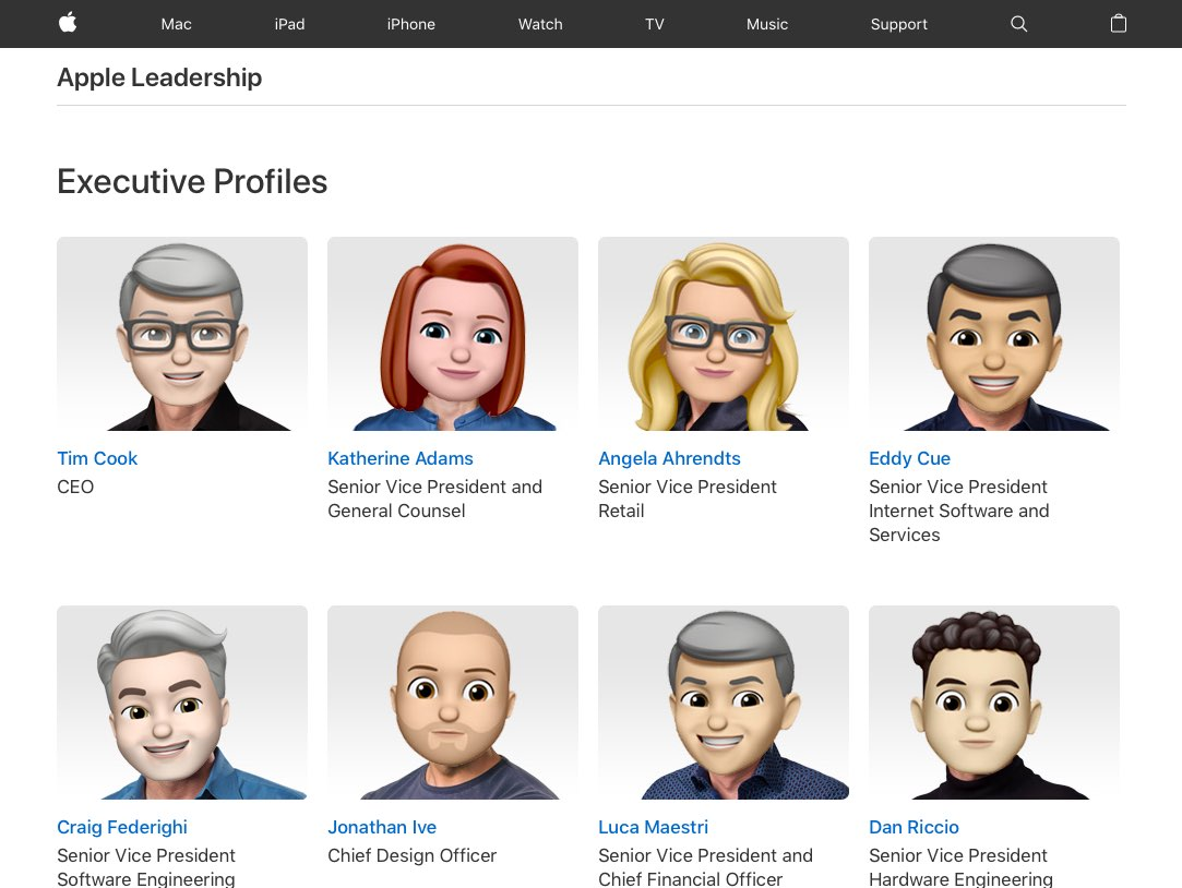 A screenshot showing Apple's Leadership webpage with executive faces replaced with their Memoji likeness