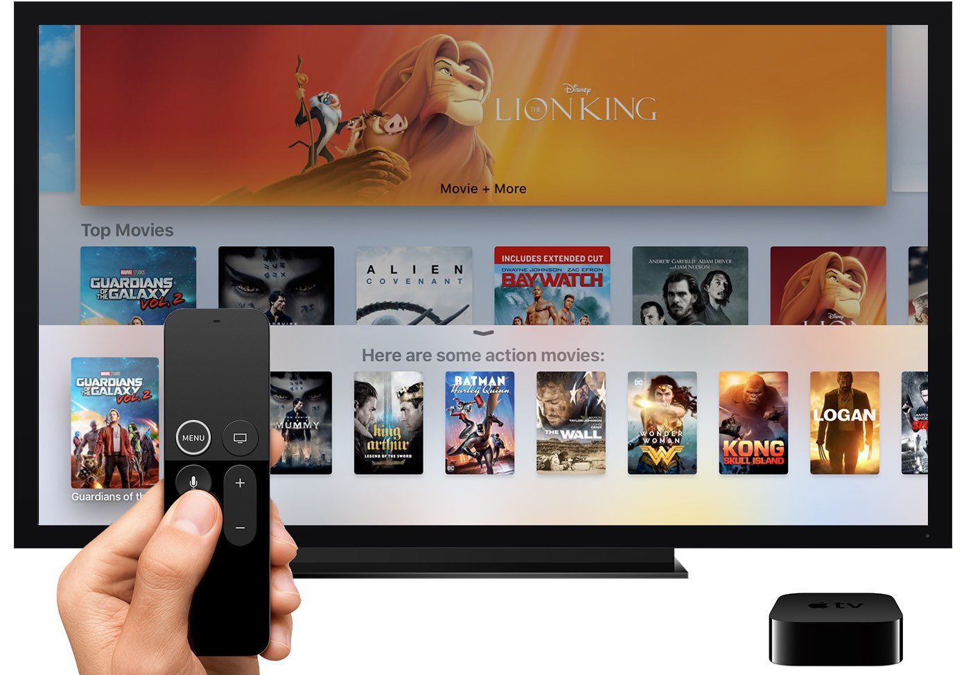 A screenshot showing invoking Siri on an Apple TV with a press of the Siri button