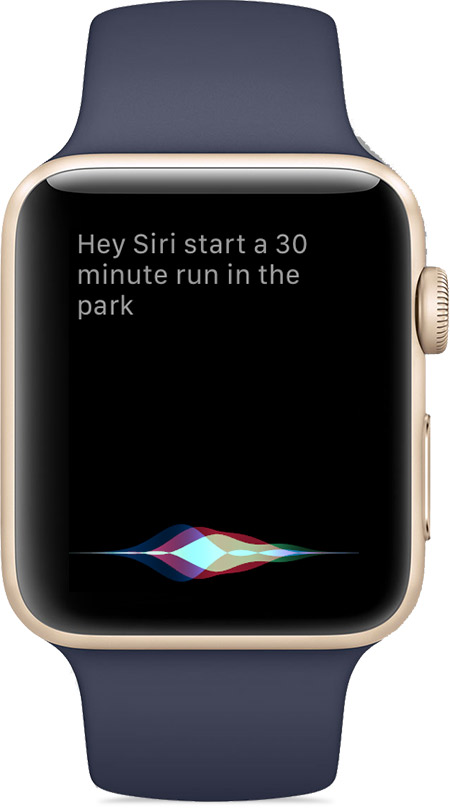A screenshot showing using Hey Siri on an Apple Watch