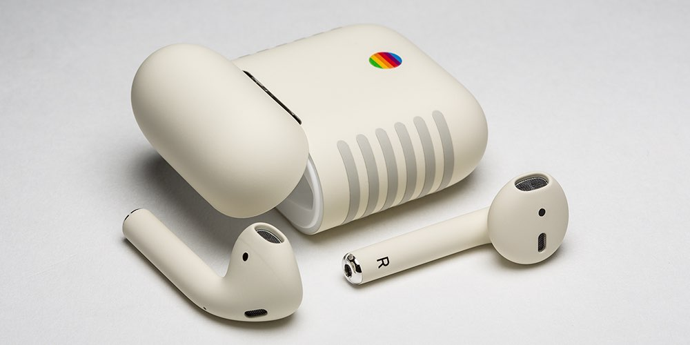 Custom-painted AirPods sporting classic Macintosh look