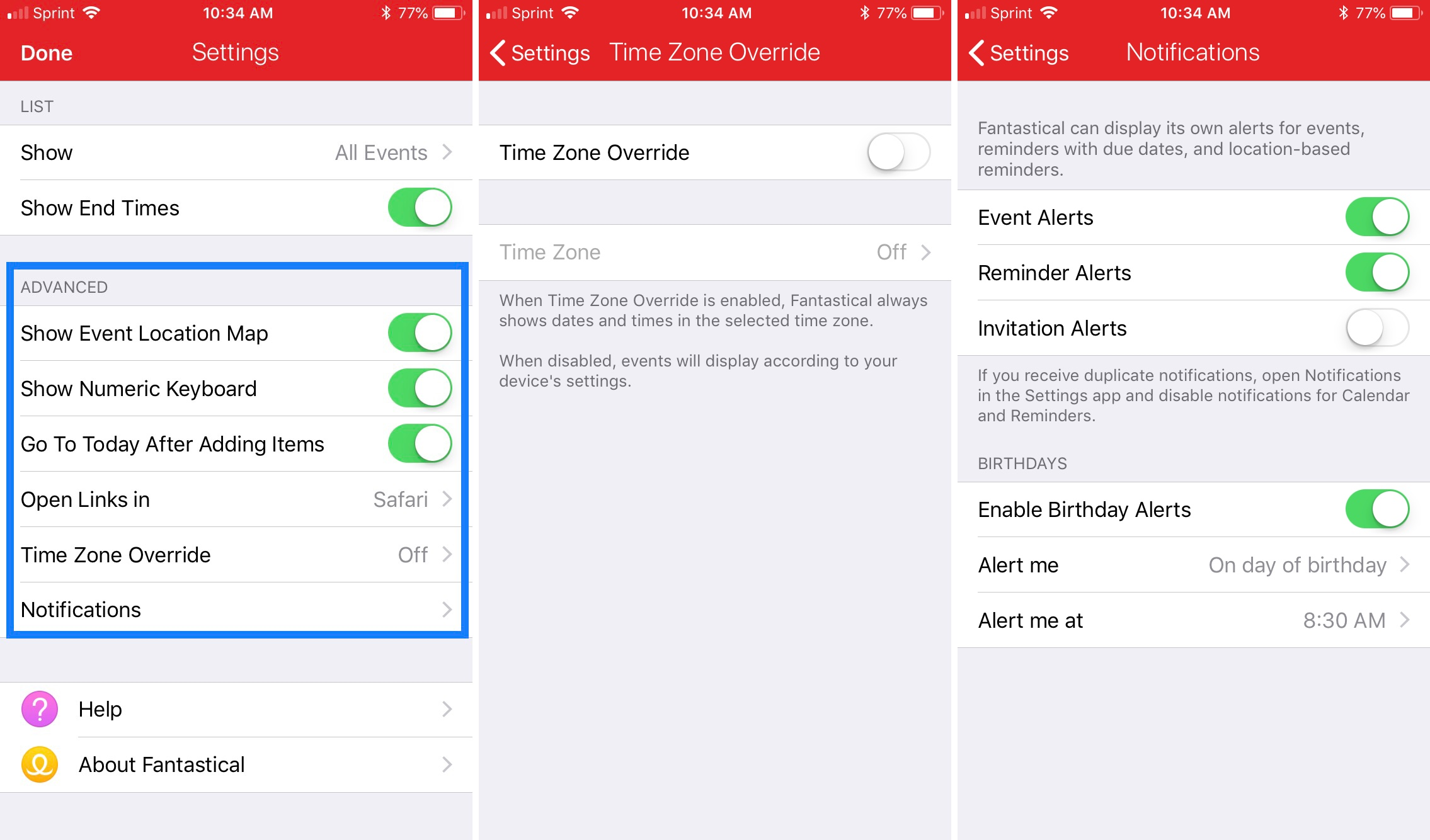 Fantastical Advanced Settings