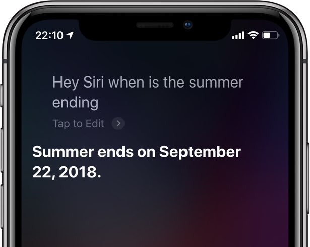 A screenshot showing using Hey Siri on an iPhone