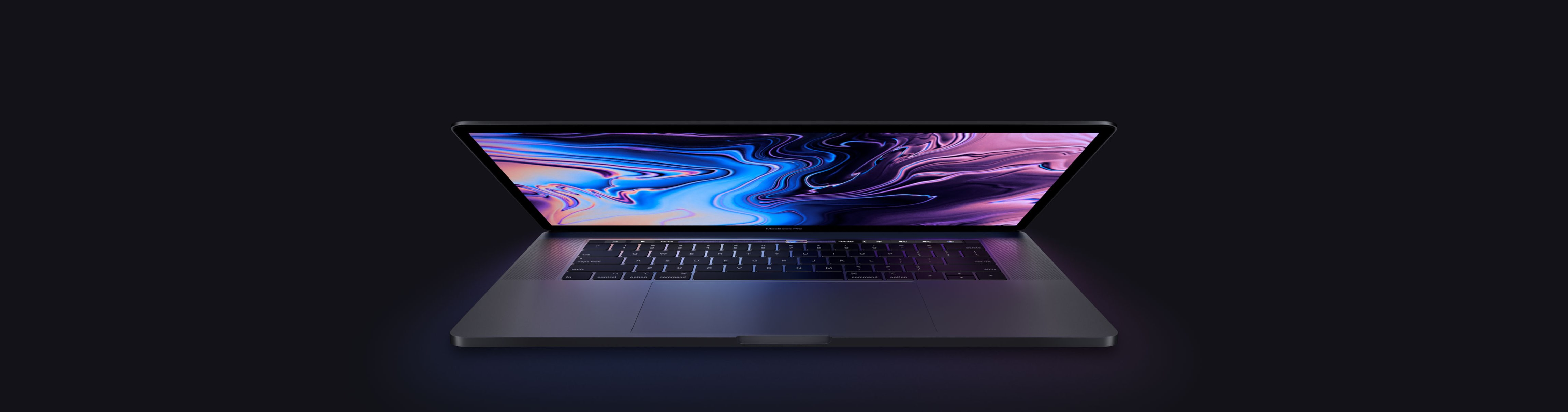 A teaser image showing the new MacBook Pro model released in 2018 with True Tone display technology