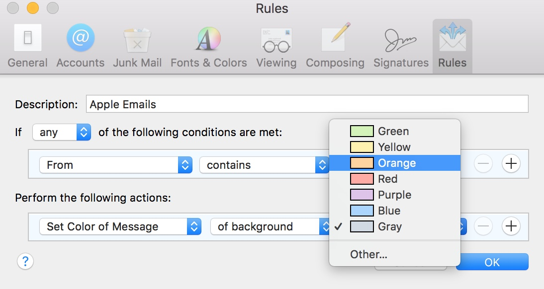 Mail Rule Actions