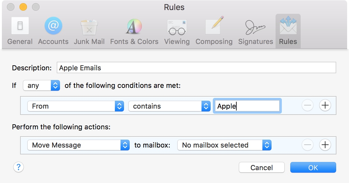 Mail Rule From Apple