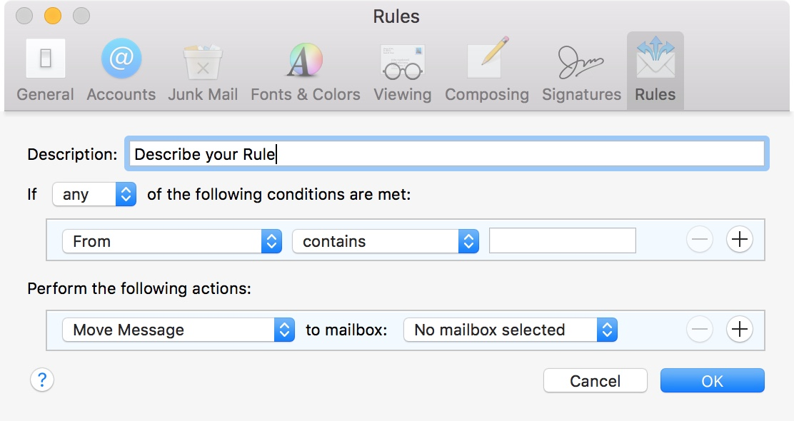 Mail Rules Box