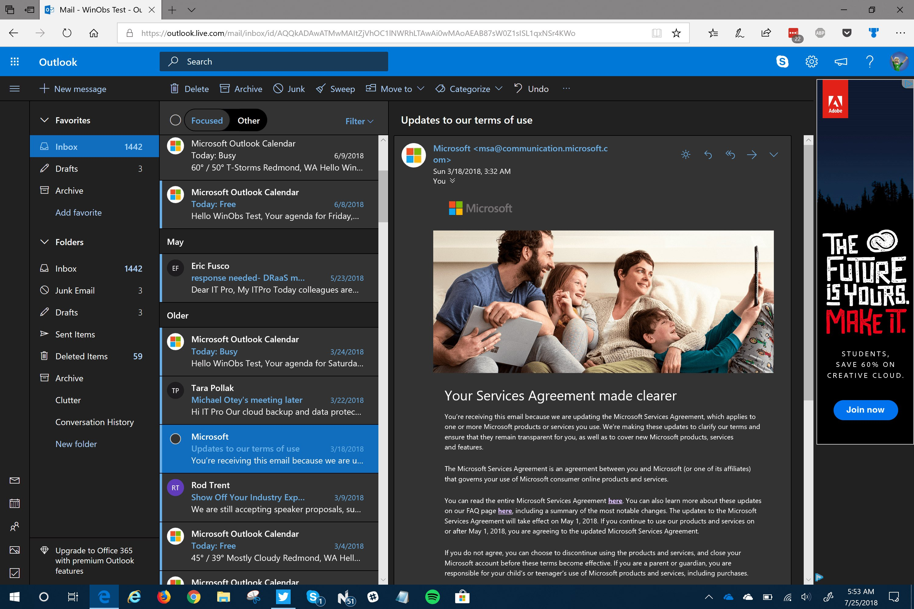 Example screenshots showcasing the various aspects of Dark Mode on Outlook.com