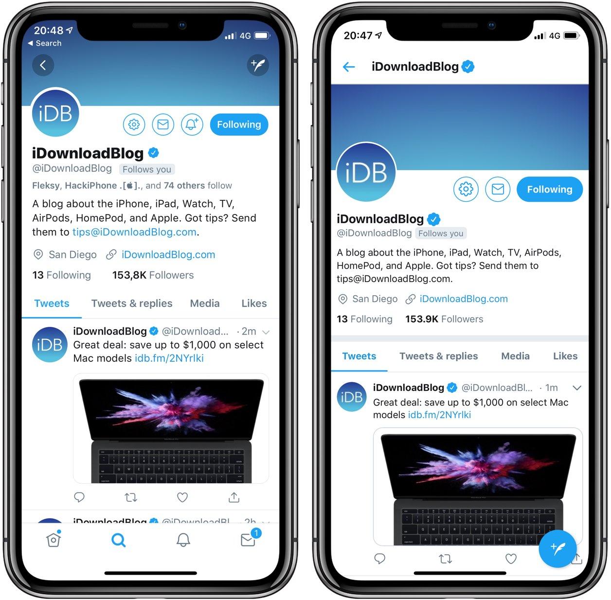 A screenshot comparing Twitter's native and progressive web apps