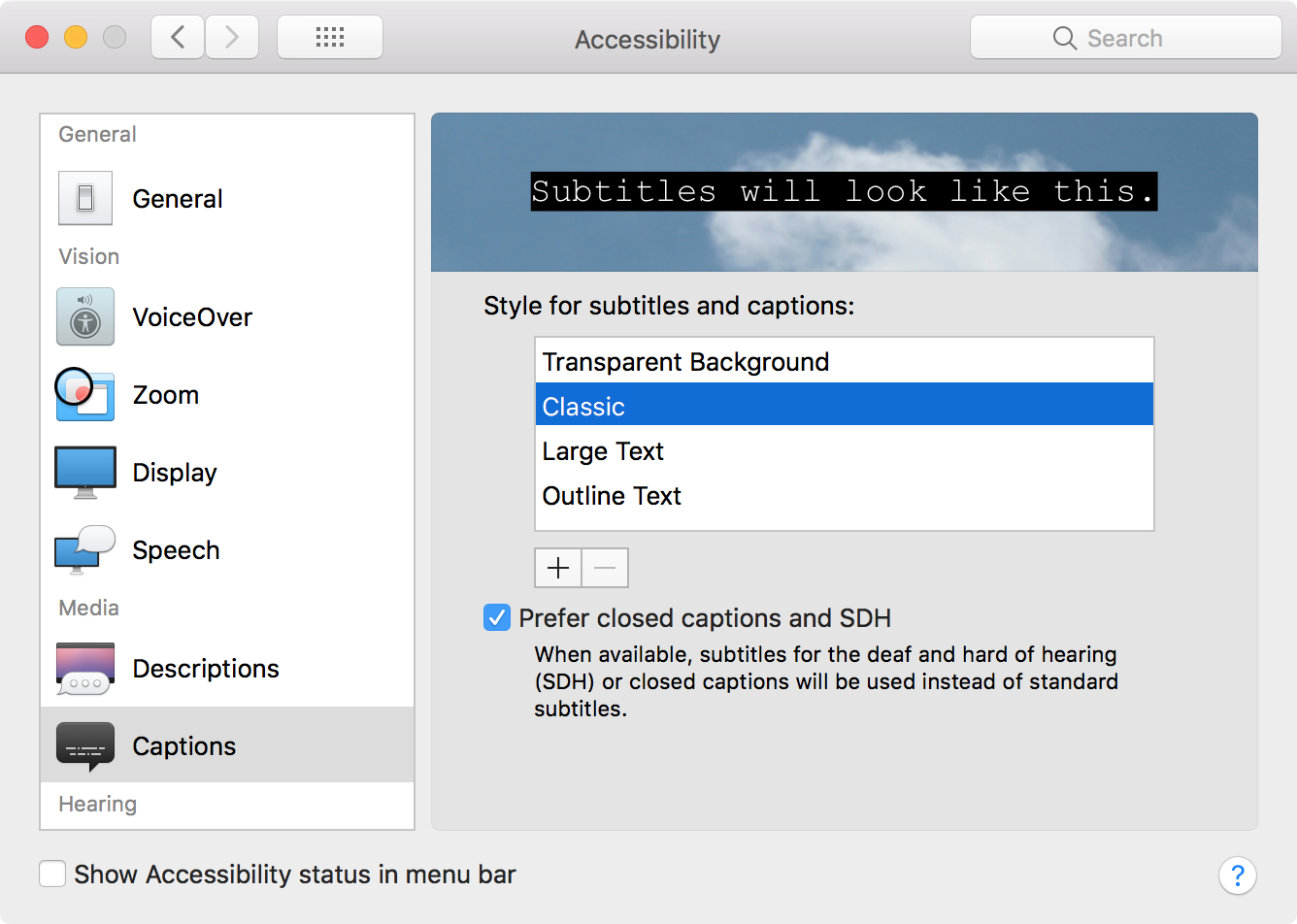 Subtitles Captions Settings Mac