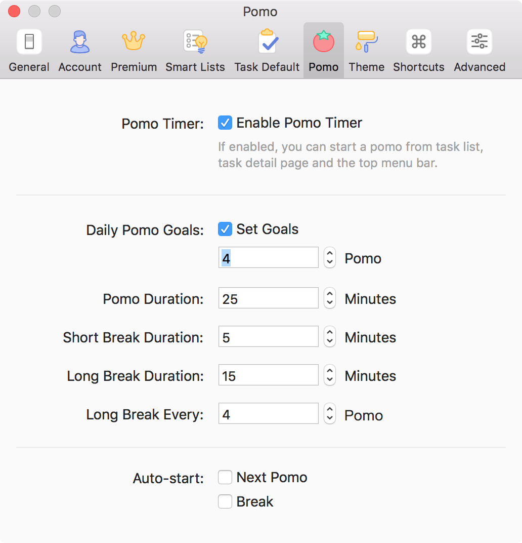 TickTick Pomo TImer Settings Mac