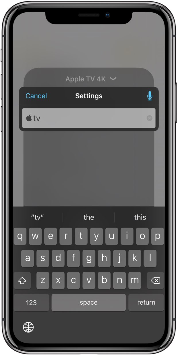 Entering the Apple logo symbol using the Text Replacement feature in conjunction with the Apple TV Remote widget in Control Center on an iOS device