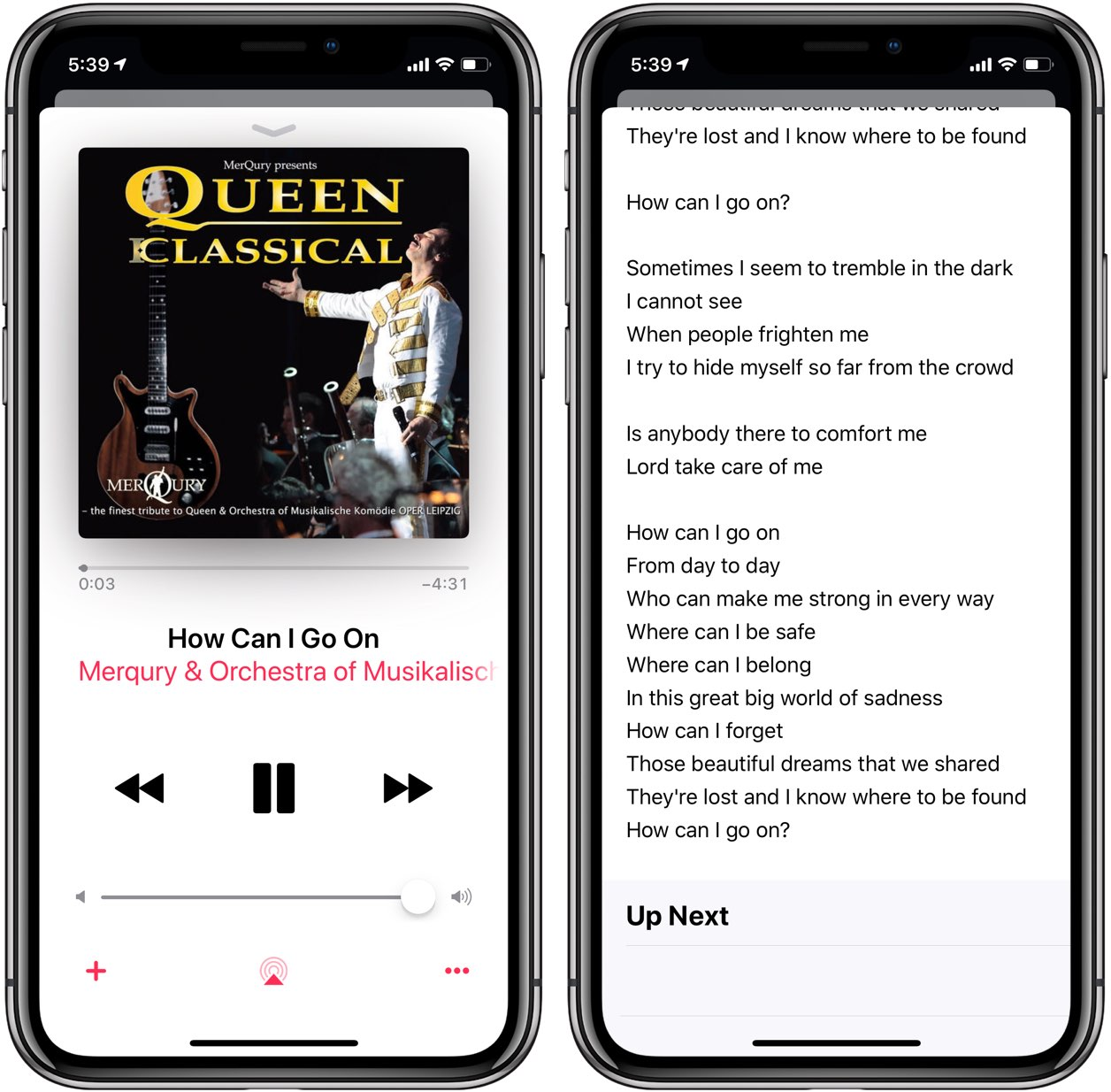 Lyrics search can work across Apple Music or be limited to your own music library