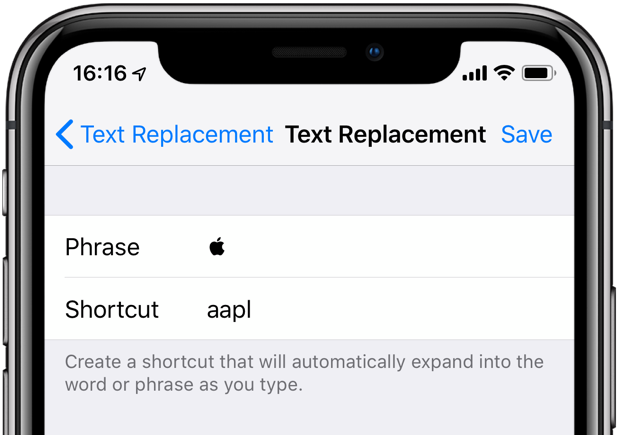 The Text Replacements feature lets you assign the Apple logo symbol to a custom phrase