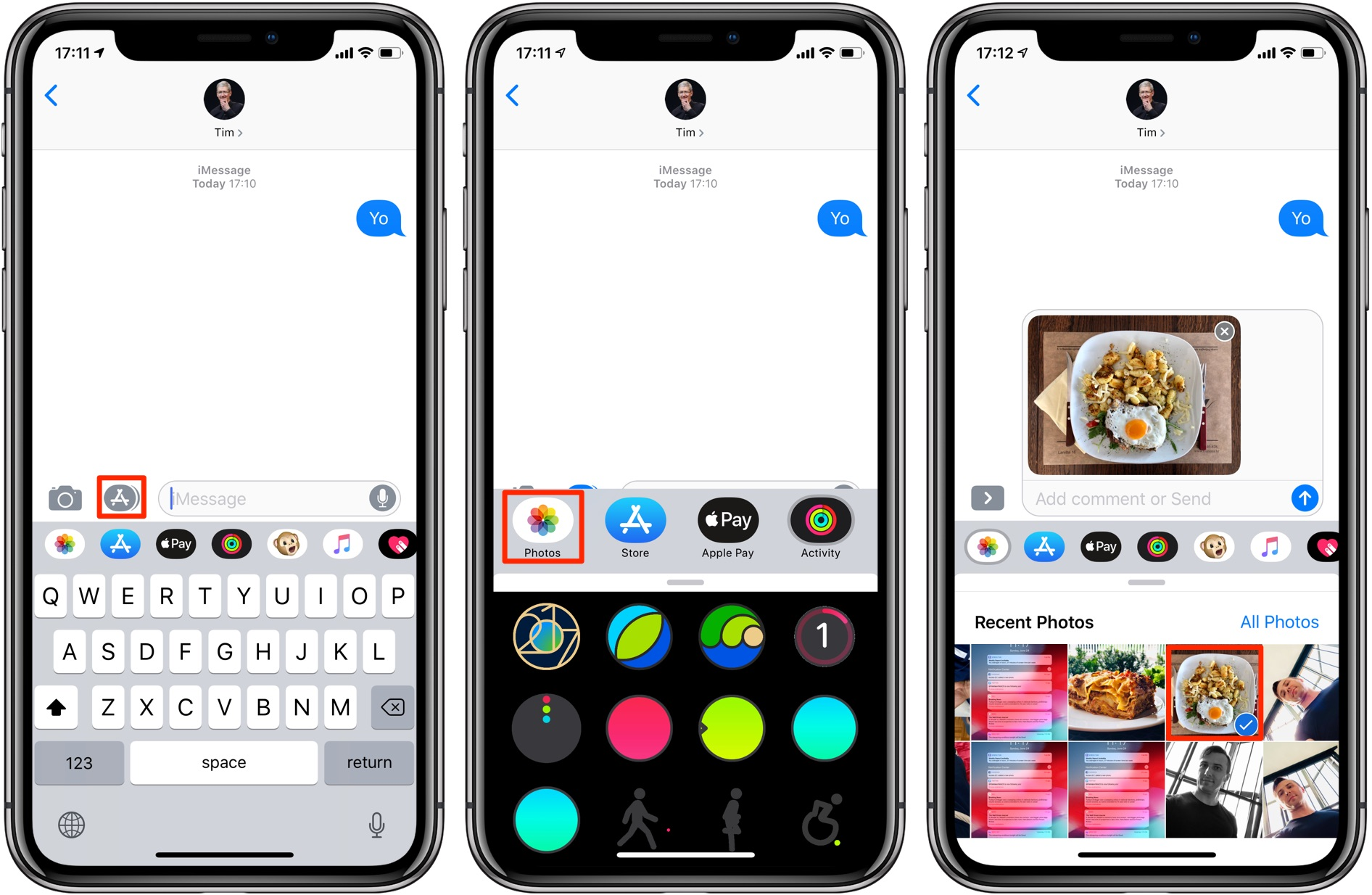 iMessage photos - Messages in iOS 12 includes a Photos iMessage app for attaching media to messages and using Siri-powered Sharing Suggestions