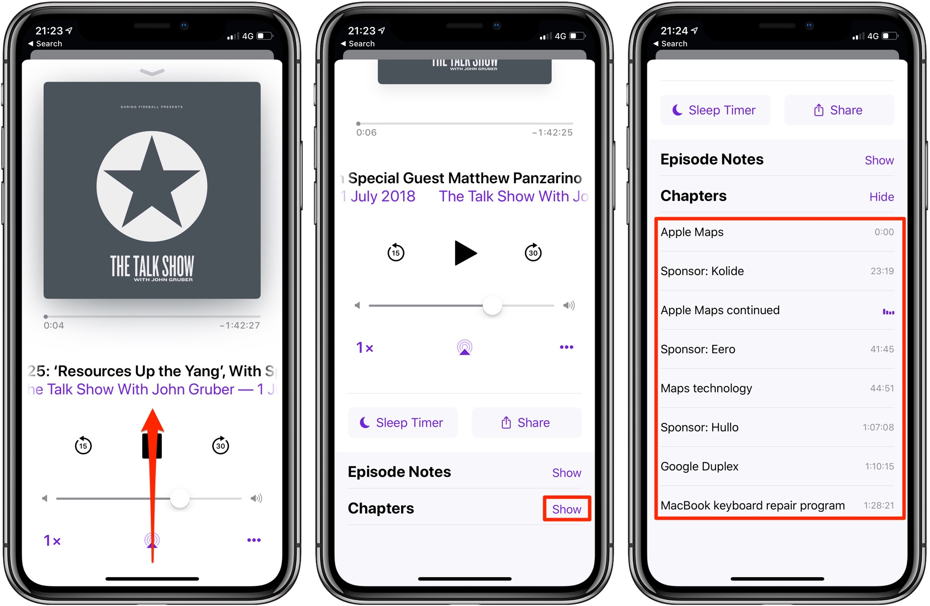 Apple Podcasts chapters - A screenshot showing accessing the embedded chapter markers by swiping up on the Now Playing screen in the Podcasts app on iOS 12