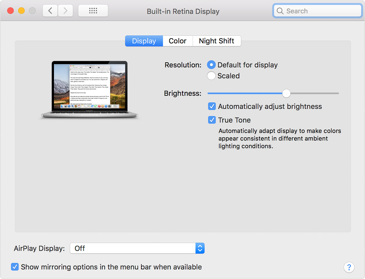 A macOS screenshot showing the Display preference pane with a True Tone toggle