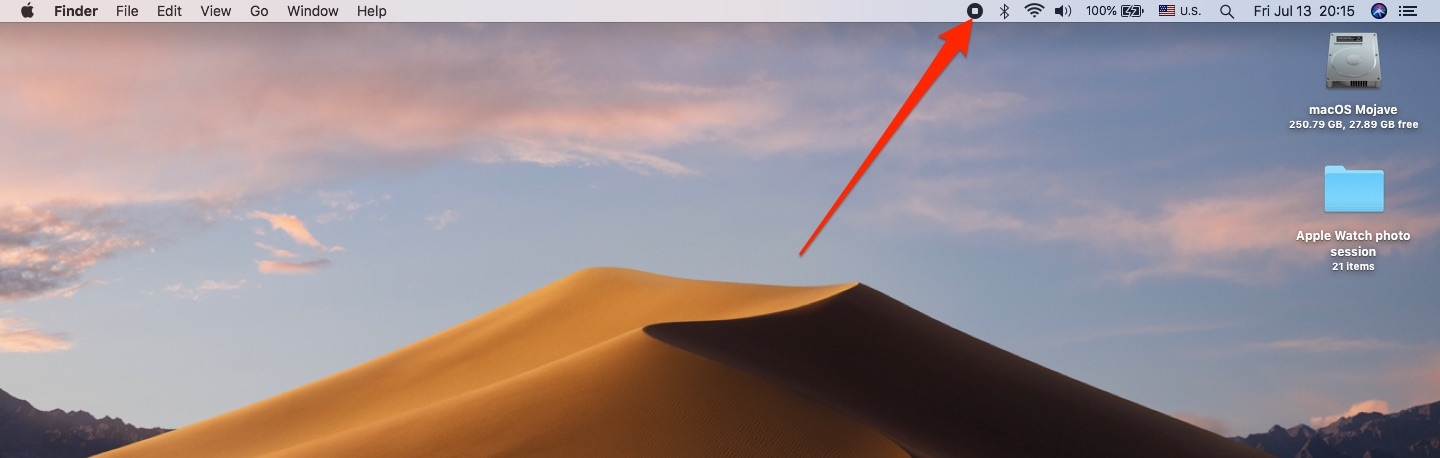Take Mac screenshots - The Stop Recording button appears in your Mac's menu bar