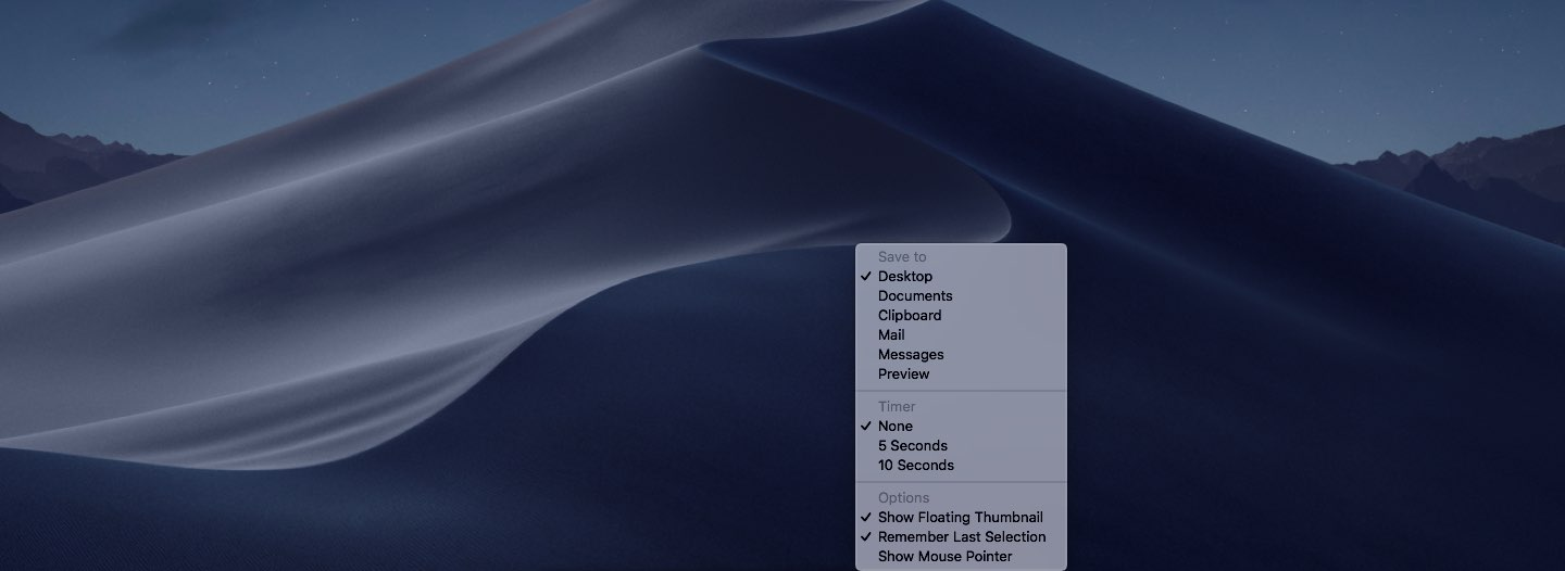 Take Mac screenshots - The Options menu includes various variables for adjusting the screenshot taking experience in macOS Mojave