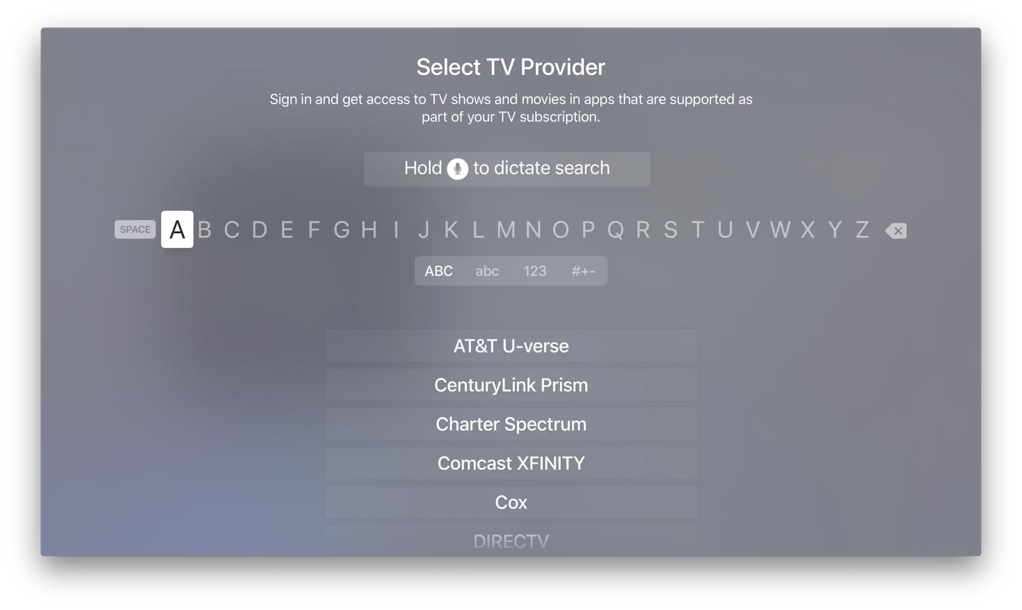 Select TV Provider