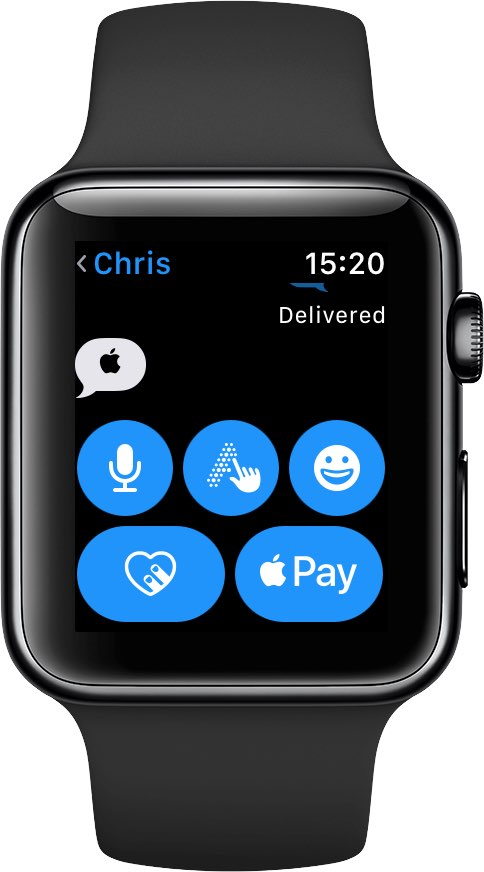 The Apple logo symbol shows as visible on Apple Watch, but you cannot type it out using watchOS's Dictation or Scribble feature
