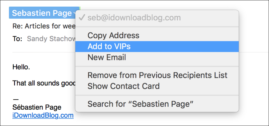 Add Mail VIP Mac