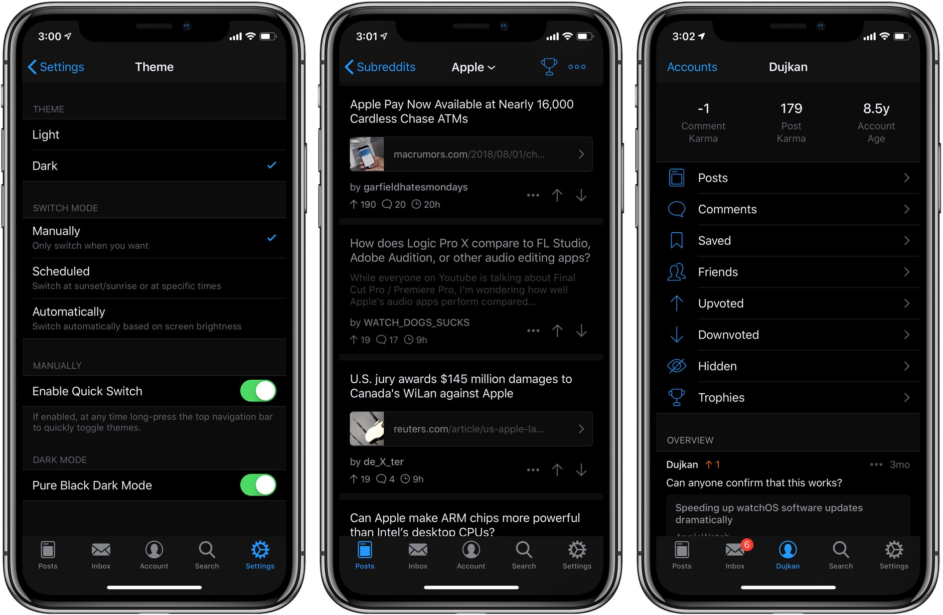 A screenshot showing Apollo's Dark Mode interface with the Pure Black option selected