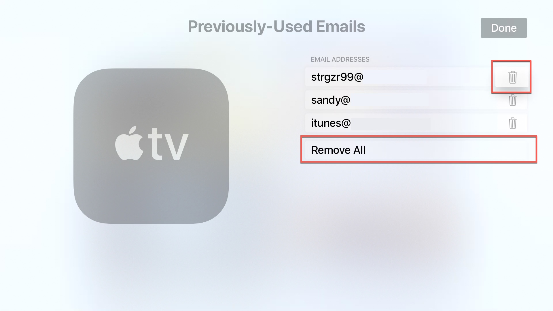 apple tv delete Email