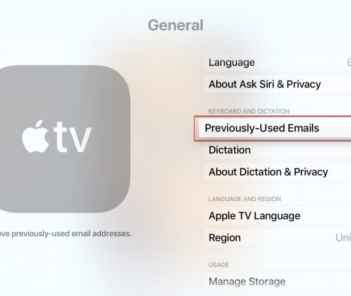 Apple TV Previously Used Emails