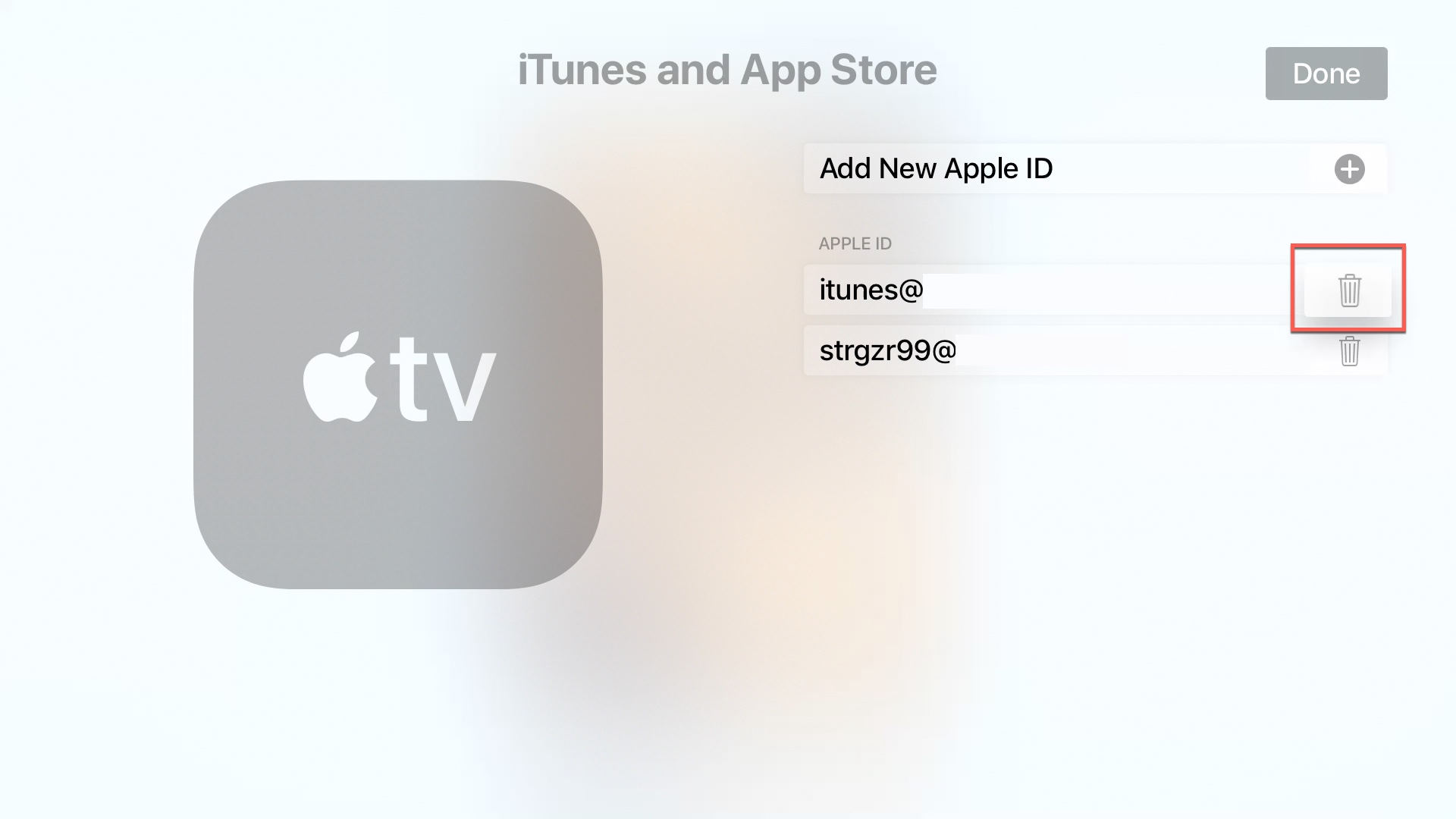 apple tv delete apple id