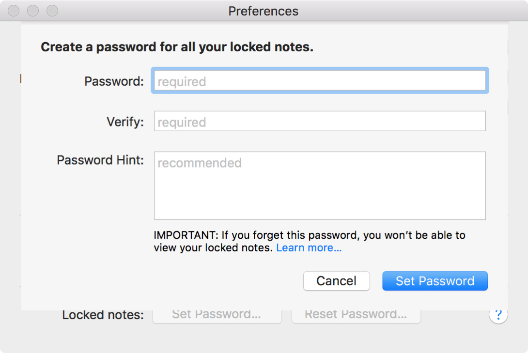 Create Notes Password Mac