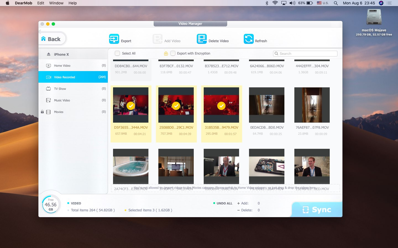 Seleccionar videos de iPhone antes de exportar