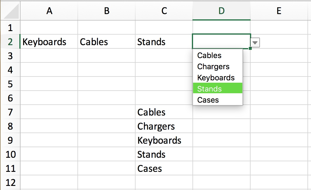 How to create drop-down lists in Excel on Mac