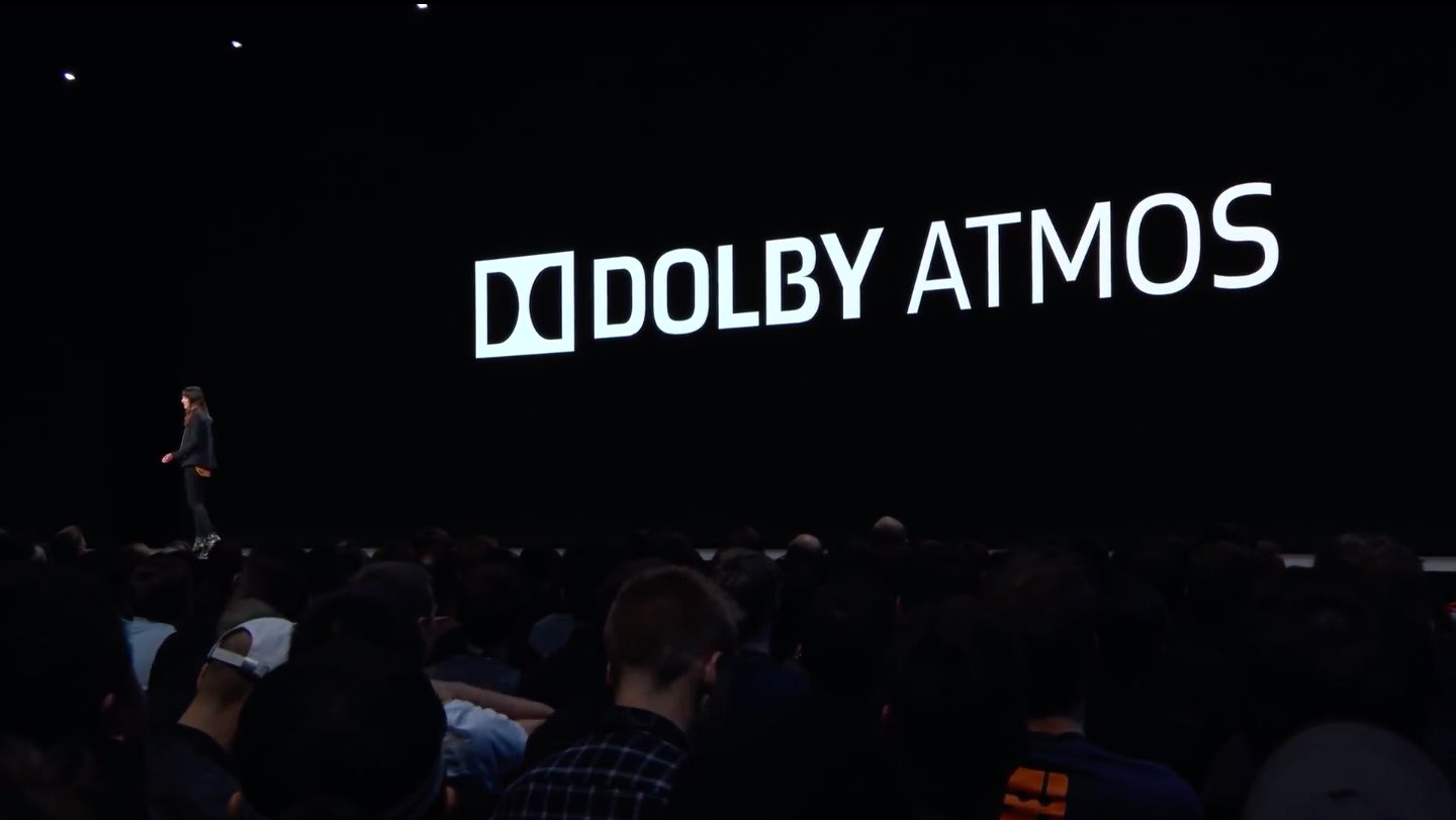 Jen Falson, Apple's Design Lead for Apple TV, announcing DolbY Atmos support in tvOS 12 during the WWDC 2018 keynote
