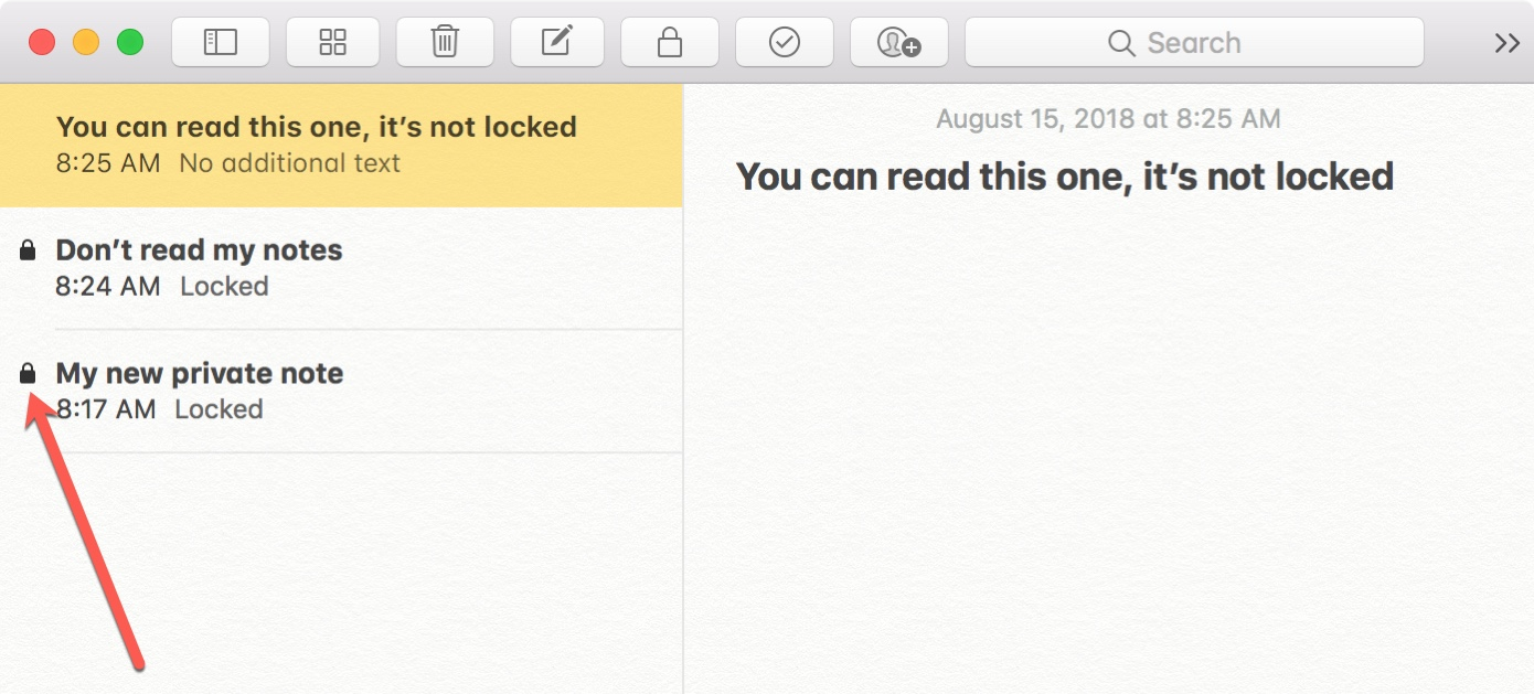 Locked Notes on Mac