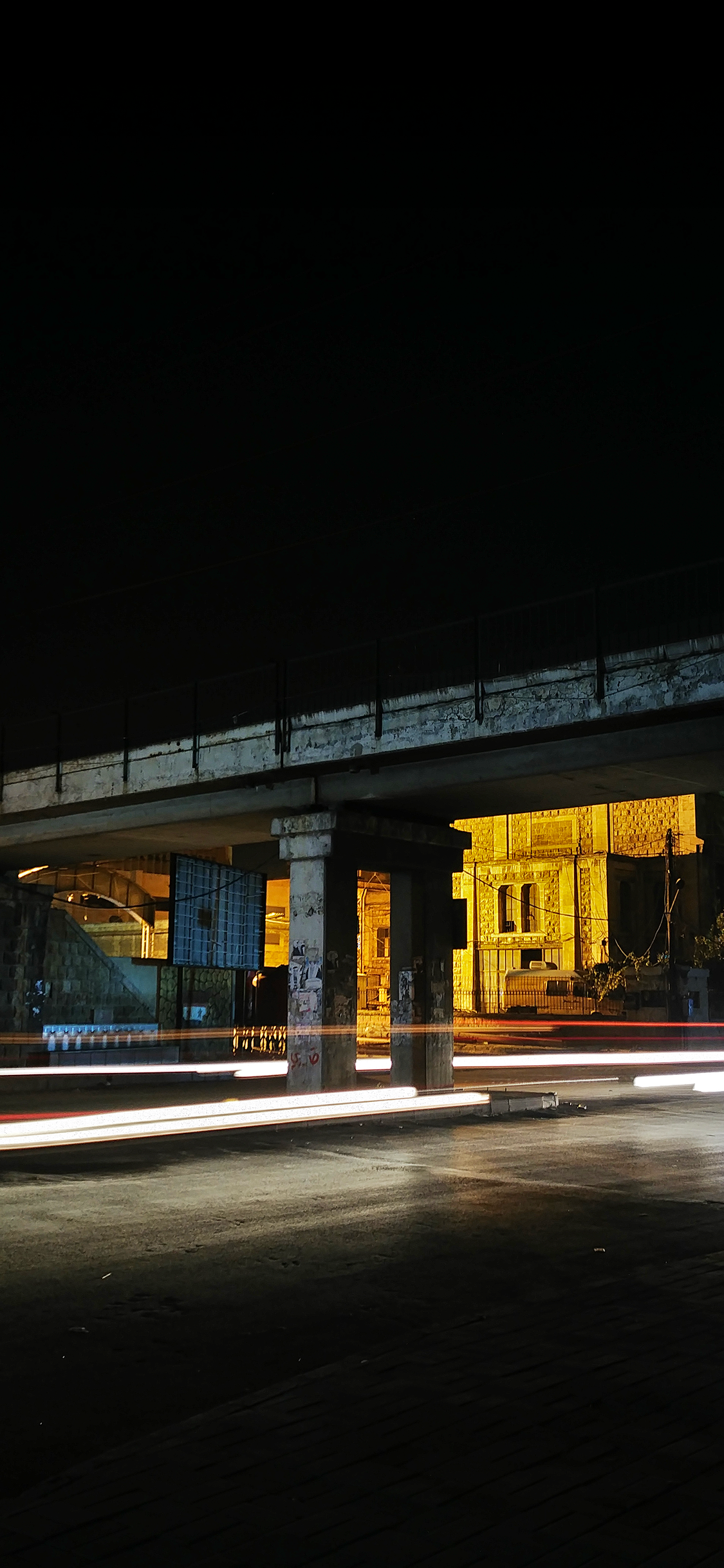 long exposure image bridge at night