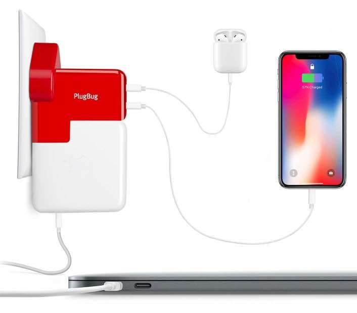 PlugBug Duo from Twelve South charging AriPods case, iPhone X and a MacBook at the same time