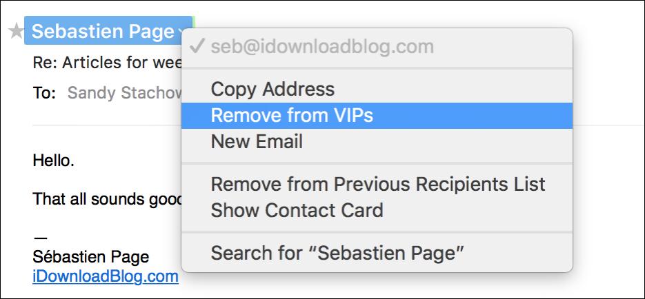 Remove Mail VIP Mac
