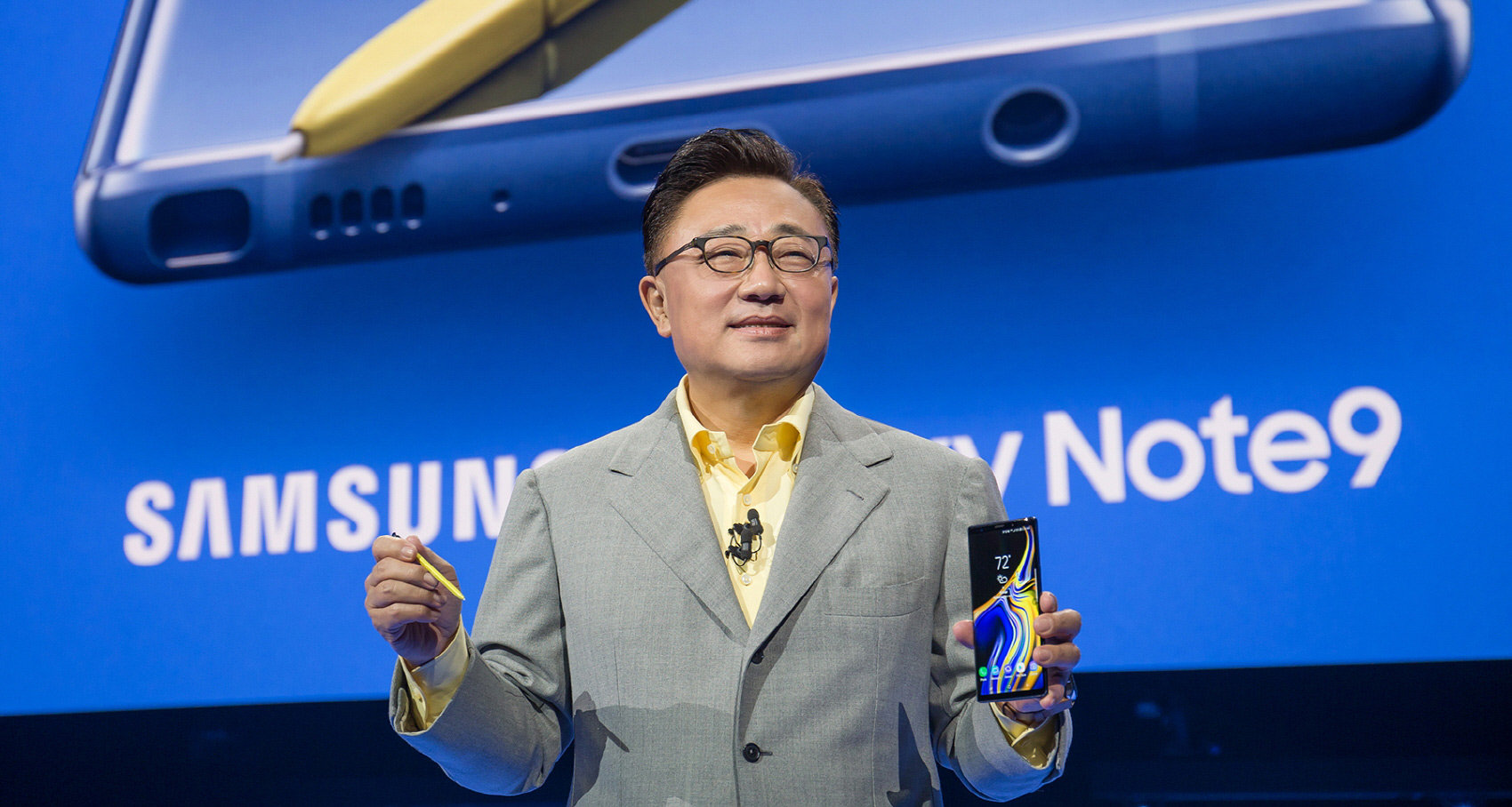 Samung president DJ Koh showing off Note 9 at the Unpacked event in New York City