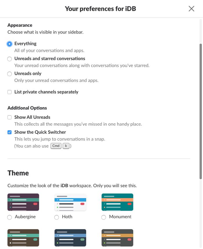 Slack on Mac Sidebar